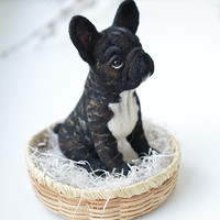 Needle felted french bulldog (for Elaine). Felt dog. Cute animal.
