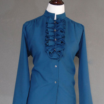 Vintage Plus Size Blouse / Mandarin Collar / Ruffle Chest / Blue / Size 16