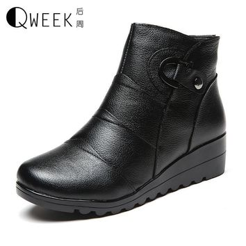 Women Genuine Leather Snow Ankle Martin Boots Wedges Platform Winter Warm Boots Short