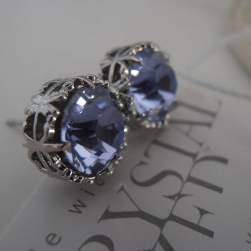 BlueBell - Violet, Bridal Earrings, Swarovski Studs, Filigree, Stud Earrings, Post Earrings, Art Deco Earrings - Surgical Steel