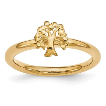 Gold Tone Plated Sterling Silver Stackable Expressions 8mm Tree Ring