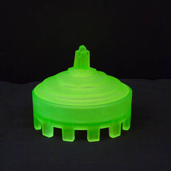 Taussaunt Glass Obelisk Powder Jar Depression Glass 1920s Satin Green Uranium Glass Art Deco Vanity Decor Trinket Dish