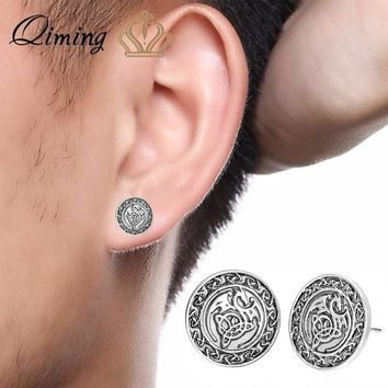 QIMING Slavic Dragon Hip Hop Earrings Female Bronze Men Jewelry Viking Valknut Celtic Pendant Man Gift Women Stud Earrings