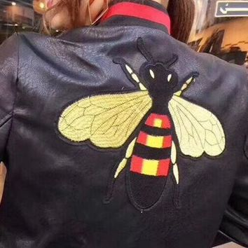 DCCKNQ2 GUCCI Bee Embroidery Leather Long Sleeve Cardigan Jacket Coat2