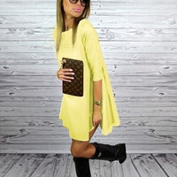 Yellow Sleeve Loose A-Line Dress