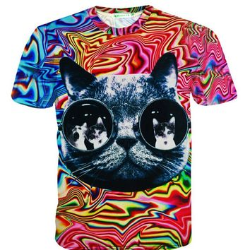 Cute glasses cat 3D t shirt psychedelic striped tees tops harajuku tshirt men women summer style fashion 3d t-shirt S-5XL R2366