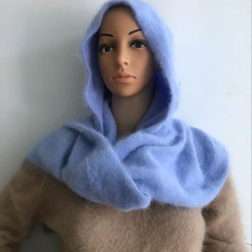 LOVELYDONKEY women Plush mink cashmere Ladies hand knitting hat+scarf Winter warm knitting Hooded scarf free M1044
