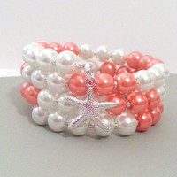 Coral white pearl memory wire bracelet, beach jewelry gifts, starfish charm bracelet
