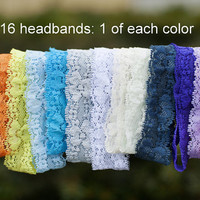 "Lace Headbands - Stretch Elastic Lace Baby Headbands - Set of 16 - 1"" Lace Headbands - Elastic Lace Baby Headbands - 1 of Each Color"