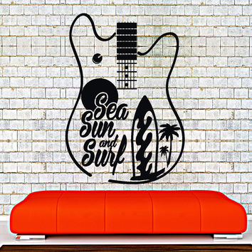 Wall Decal Quotes Sea Sun Surf Guitar Surfing Palm Home Interior Unique Gift z4013