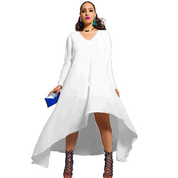 White V-Neck Long Sleeve Asymmetrical Dress