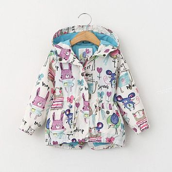 Children Toddler Infant Kids Baby Boys Girls Long Sleeve Animals Hand Print Jacket Coat Hooded Outerwear