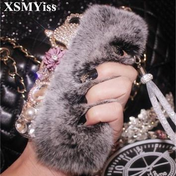 XSMYiss 3D Luxury Bling Diamond Fluffy Rabbit Fur Case Fox Head Phone Case Cover For iPhone X 4S 5S SE 5C 6 6S Plus 7 8 Plus