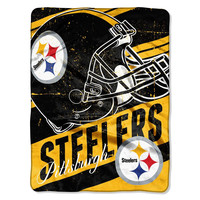 Pittsburgh Steelers NFL Micro Raschel Blanket (Deep Slant Series) (46in x 60in)