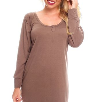 BROWN SCOOP NECKLINE LONG SLEEVES BUTTON ACCENT LOOK CASUAL DRESS
