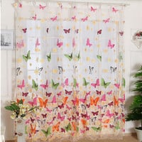 Butterfly Print Sheer Window Panel Curtains Room Divider New for living room bedroom