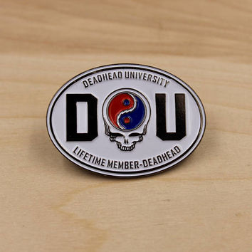 GRATEFUL DEAD PIN - Deadhead University, Steal Your Face, Rare, Jacket, Enamel Pin, Boyfriend, Girlfriend, Gift Idea