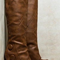 Fold Over Perforated Button Boots