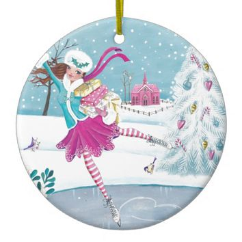Skating Girl Christmas Holiday Ornament