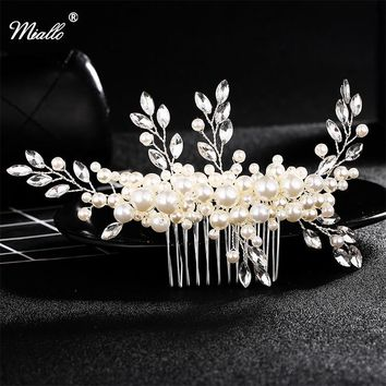Miallo Ivory White Pearl Wedding Hair Comb Crystal Bridal Hairpins Princess Hair Jewelry Bride Headdress Hair Accessories