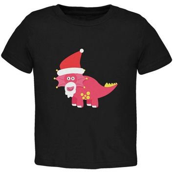 DCCKJY1 Christmas Dinosaur Triceratops Black Toddler T-Shirt
