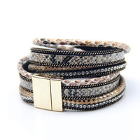 2015 Fashion 3 Layer Wrap Bracelets Leather Megnetic Bracelets With Crystals Couple Jewelry Christmas Gift