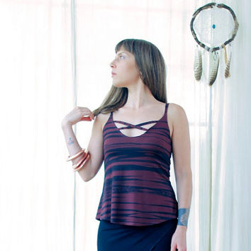 Cross Front Tank Top, Strappy Maroon Tank Top, Open Back Top, Printed Tank Top