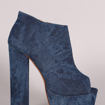 Liliana Denim Peep Toe Platform Chunky Heel Booties