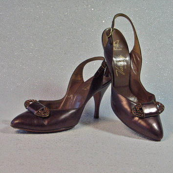 Vintage Shoes Bronze Leather 1950's Slingback Pumps with Amber Rhinestone Shoe Clips