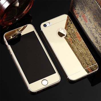Full Screen Front+Rear Back 2PCS Mirror Plating Tempered Glass Protector Film Case for iphone 4 4s SE 5 5s 6 6s 7 Plus 6Plus