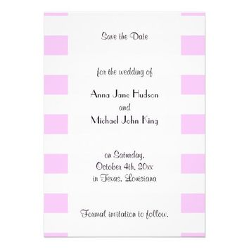 Save the Date Trendy Lines Stripes Pink White Custom Invitations from Zazzle.com