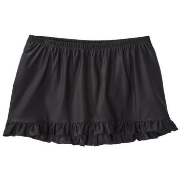 Xhilaration® Junior's Plus-Size Ruffled Skirtini Swim Bottom - Black