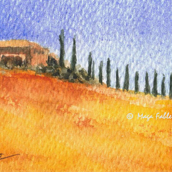 Castiglione d'Orcia,  Tuscany, Italy; ACEO series: Tuscany #6; original watercolor painting by Maga Fabler