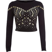 River Island Womens Black embellished crop top