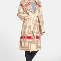 Women's Pendleton Shawl Collar Wool Blanket Coat,