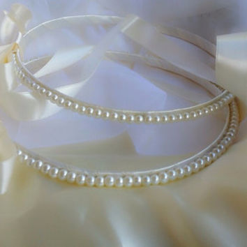 Greek Stefana with pearls & Pillow - Handmade Wedding Crowns / Tiaras / Headbands with Pillow / Cushion