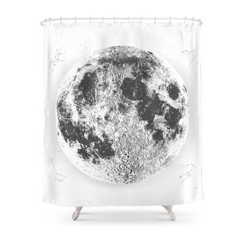 Society6 Large White Full Moon Print By Christy Nyboe Shower Curtain