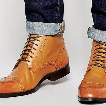 Men Tan Derby Brogue Wingtip Genuine Leather Shoes