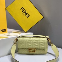 Fendi Fashion Light yellow Women Leather Crossbody handbags Shoulder Bag