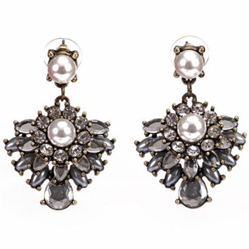 Pearl Portrait Crystal Earrings