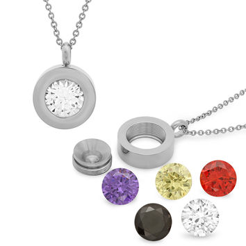 Ladies Stainless Steel CZ Pendant Interchangeable