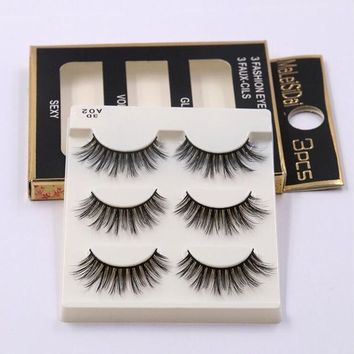 3 pairs of false lashes (Synthetic mink style)