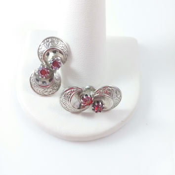 Vintage Lewis Segal Earrings - Silver Tone Twist Lever Back Pierced w/ Red Stone Center