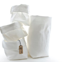 Set of four Flexible Storage Bags,Fabric Cotton Organizer Bin Container Baskets in different shapes and sizes, white