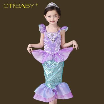 Girls Little Mermaid Dress Fancy Kids Ariel Princess Dresses Children Mermaid Clothes Christmas Carnival Party Cosplay Costumes