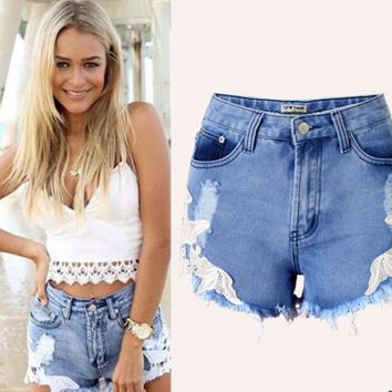 Trendy Floral Lace Stylish Denim Shorts
