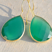 Hot Rocks Vermeil Earrings Green Onyx