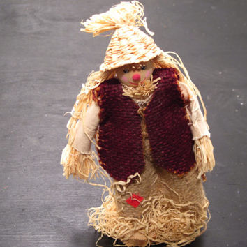 Primitive, Straw, Fall, Scarecrow, Rustic, Doll, Decor, Thanksgiving, Halloween, Ornament,  Autumn, Harvest, Farm, Farmhouse, Asian, Chic, A