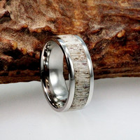 Tungsten Ring with a Deer Antler Inlay - Mens Wedding Band