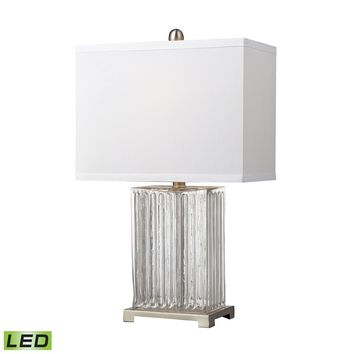 Ribbed Clear Glass LED Table Lamp in Brushed Steel